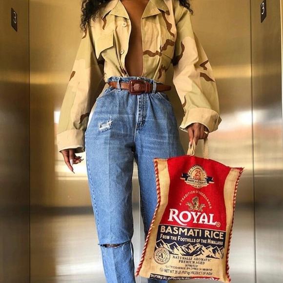 Vintage Handbags - Vintage Repurposed Burlap Basmati Tote Bag